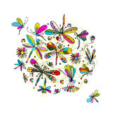 Dragonfly collection, sketch for your design Stock Images
