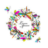 Dragonfly collection, sketch for your design Royalty Free Stock Images