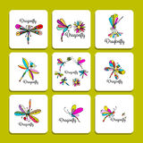 Dragonfly collection, sketch for your design Stock Photography