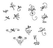 Dragonfly Embellishment Set. Hand drawn scalable dragonflies with creative details, ornamentals, and embellishments. Great for invitations, announcements vector illustration
