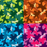 Dragonfly Fancy Camo Seamless. Fancy colored camo pattern with dragonflies. 4 color sets, seamless. CMYK vector illustration with global colors Royalty Free Stock Photography
