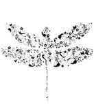 Dragonfly with flowers. Design background Stock Image