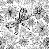 Dragonfly and flowers doodle pattern Royalty Free Stock Photography