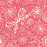 Dragonfly and flowers doodle pattern Royalty Free Stock Image