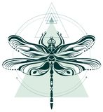 Dragonfly geometric art composition stock illustration