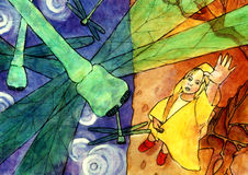 Dragonfly Girl. Girl in a yellow raincoat reaching for a dragonfly royalty free illustration