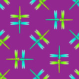 Dragonfly green blue on purple seamless pattern Stock Photos