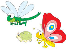 Dragonfly, greenfly and butterfly. Vector clip-arts / animal characters for your design Royalty Free Stock Image