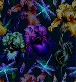 Dragonfly i kwiaty bezszwowy wzoru Zmrok - błękitni tła tła projekta kwiecistej noc bezszwowy lato twój Zdjęcie Stock