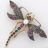Dragonfly Jeweled Brooch Stock Image