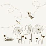 dragonfly kwiaty Obrazy Royalty Free
