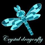 Dragonfly made of crystals. Elegant brooch vector illustration. On black background vector illustration