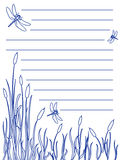 Dragonfly notepad. Design for a note pad of dragonflies flying about over a marsh with cattails and tall grass all in blue ink color, great nature scene Stock Photos