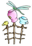 Dragonfly, pots, branches(color) Royalty Free Stock Photography
