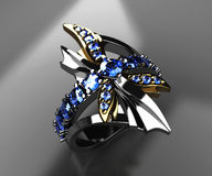 Dragonfly ring on black. 3d render of dragonfly ring of white and yellow gold and blue sapphires on black Stock Images