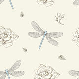 Dragonfly and rose seamless pattern Stock Photo