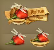 Dragonfly and rose vector icons Royalty Free Stock Photo