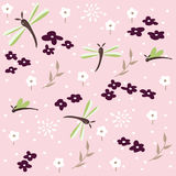 Dragonfly seamless floral pattern Stock Photo