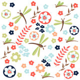 Dragonfly seamless floral pattern Stock Photography