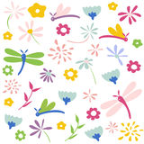 Dragonfly seamless floral pattern Stock Image
