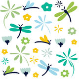 Dragonfly seamless floral pattern Stock Images