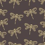 Dragonfly seamless nature pattern. Hand drawn. Style Royalty Free Stock Image