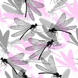 Dragonfly seamless pattern illustration. insects background