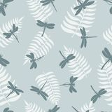 Dragonfly seamless pattern. Background with dragonflies and leaf of ferns. Vector illustration. Seamless pattern with dragonflies  and leaf of ferns isolated on Royalty Free Stock Photo