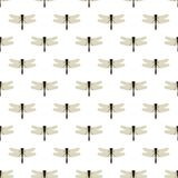 Dragonfly. Seamless pattern with dragonflies on white. Background of nature of insects Vector Illustration