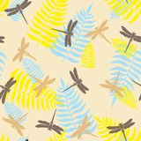 Dragonfly seamless pattern. Vector illustration. Seamless pattern with dragonflies and leaf of ferns isolated on background Royalty Free Stock Photo