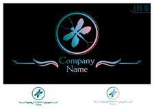 Dragonfly silhouette in a circle. logo vector illustration