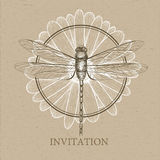 Dragonfly sketch. Invitation card Stock Photo