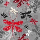 Dragonfly seamless pattern. Dragonfly white, red, gray, black shades on gray background seamless patternin decorative, graphic style Stock Photos