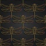 Dragonfly wzór, czarny złoto wzoru projekt również zwrócić corel ilustracji wektora Bezszwowy wzór z dragonfly odizolowywającym ilustracji