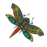 Dragonfly Zentangle стилизованный с абстрактной красочной предпосылкой иллюстрация штока