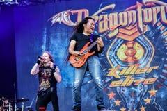 Dragonforce vive en Hellfest 2016, banda de heavy metal pesada del poder Foto de archivo