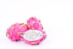 dragonfruit или pitaya плодоовощ дракона на изолированной еде плодоовощ дракона белой предпосылки здоровой свежей Стоковые Изображения RF