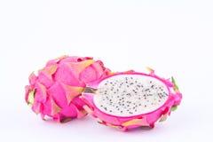 Dragonfruit плодоовощ дракона или pitaya десерта на изолированной еде плодоовощ дракона белой предпосылки здоровой Стоковая Фотография RF