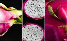 Dragonfruit close-up Collage on black background. Different angles that shows beauty of dragonfruit Royalty Free Stock Photography