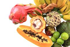dragonfruit de bannana d'annona de papaye Photo stock