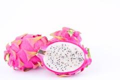 Dragonfruit ou pitaya de fruit du dragon sur l'aliment biologique sain de dragonfruit de fond blanc d'isolement Image libre de droits