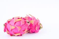 Dragonfruit ou pitaya organique de fruit du dragon sur la nourriture saine de fruit du dragon de fond blanc d'isolement Photographie stock