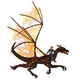 Dragonmaster. A knight flying on a dragon - isolated on white Royalty Free Stock Photo