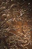 Dragons. Two carved chinese dragons in wood Royalty Free Stock Images