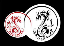 Dragons. Fighting dragons, fight of good against evil Royalty Free Stock Image
