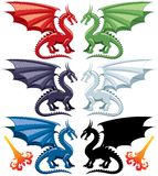 Dragons. Set of the five most popular kinds of dragons: red, green, blue, black and white. Stylized flames are also included, in case you want to make them Royalty Free Stock Photo