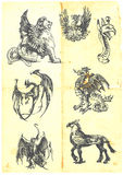Dragons. A large series of mystical dragons on an old sheet of paper stock illustration