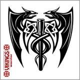 Dragons and axe - viking emblem - vector illustration vector illustration