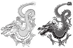 Dragons black & white Royalty Free Stock Photo