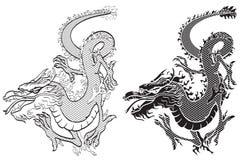 Dragons black & white. Dangerous Dragons, black & white vector royalty free illustration